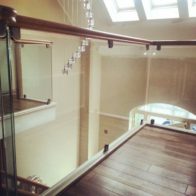 glass stairs, balustrades, balusters, home improvement, traditional, wood handrail