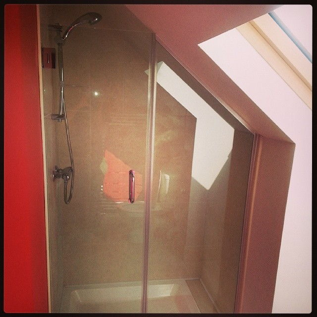 Angled Glass Shower Enclosure, bathroom, glass doors, small space, retro fit, home improvement, space use