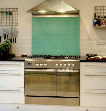 Kitchen glass splashback - 5018 turquise blue , colour glass, kitchen, indoors, home improvement, contemporary design, hygienic surface, heat resistant