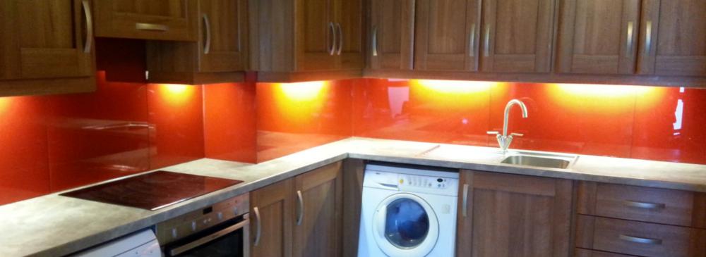 Kitchen glass Splashbacks -Red Orange RAL 2001, colour glass, heat resistant, hygenic, panel lights, kitchen, modern, contemporary