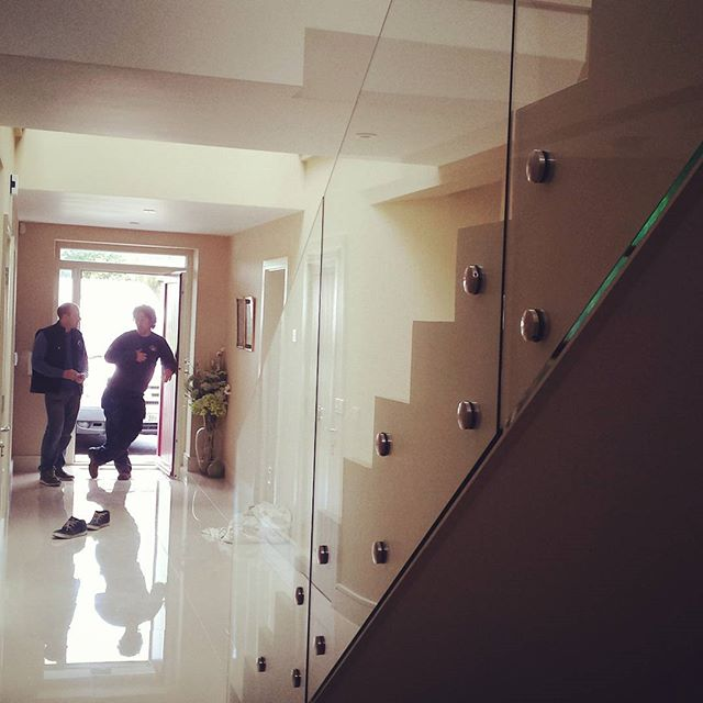 glass stairs contemporary design, stairs, home improvement, indoors, no posts, frameless glass