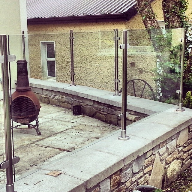 Glass Balustrade Post System, toughened glass, windbreaks, outdoors, garden, patio