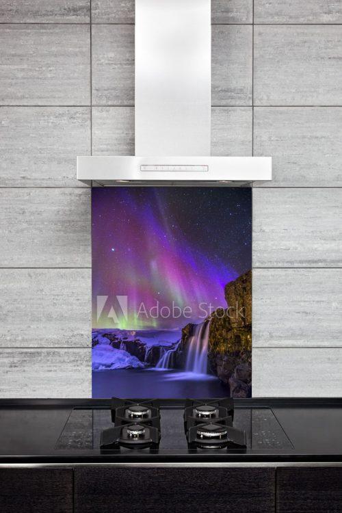 Kitchen Splash Back - Purple Northen Lights