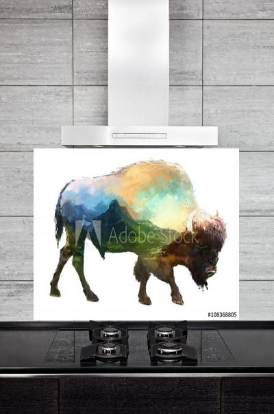 Kitchen Splashback Bison Illustration