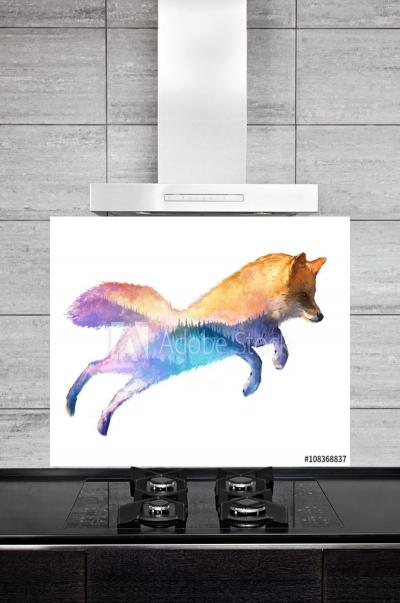 Kitchen Splashback Fox Illustration
