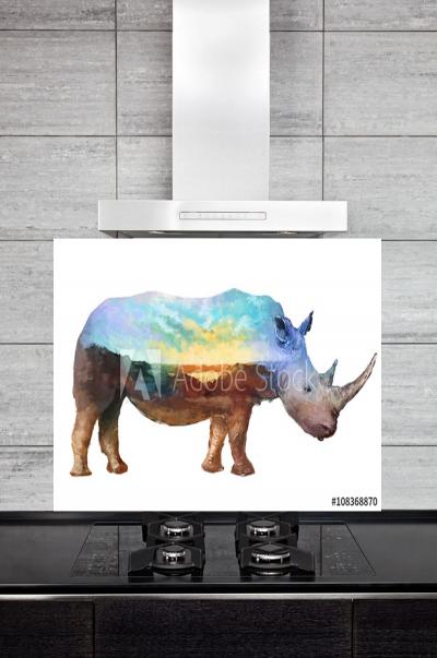 Kitchen Splashback Rhino Illustration