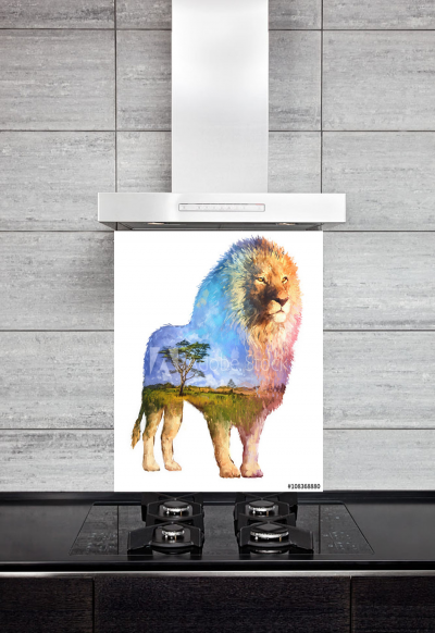 Kitchen Splashback Lion Illustration