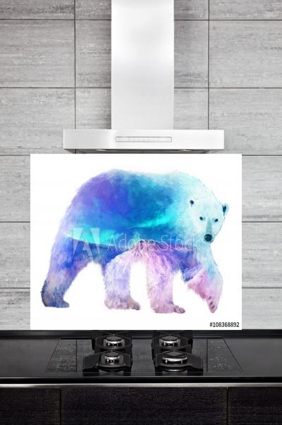 Kitchen Splashback Polar Bear Illustration