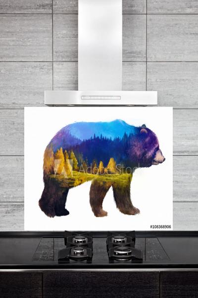 Kitchen Splashback Grizzly Illustration