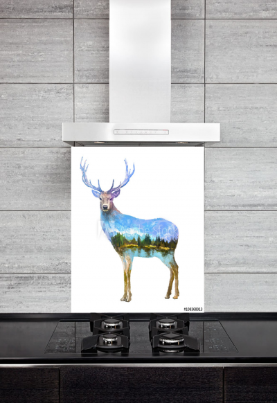 Kitchen Splashback Deer Illustration
