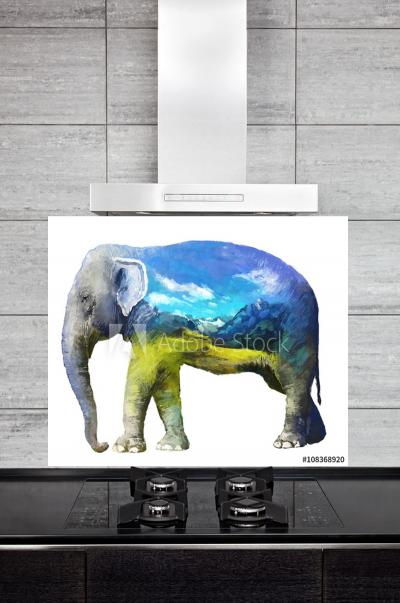 Kitchen Splashback Elephant Illustration