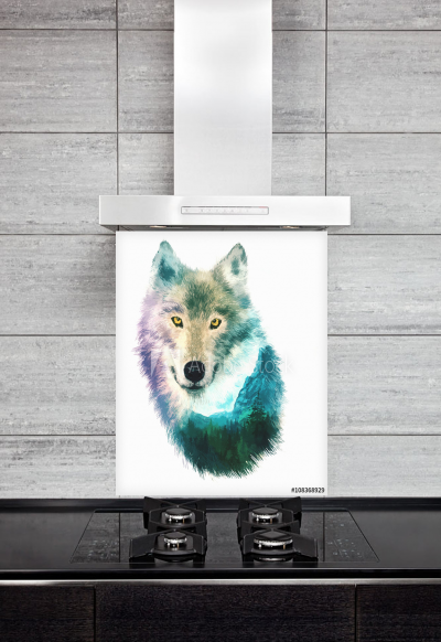 Kitchen Splashback Wolf Illustration