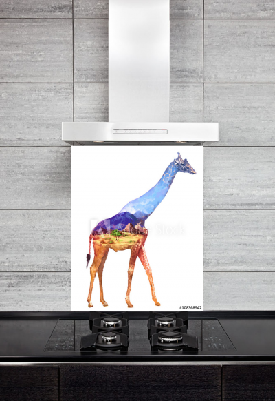 Kitchen Splashback Giraffe Illustration