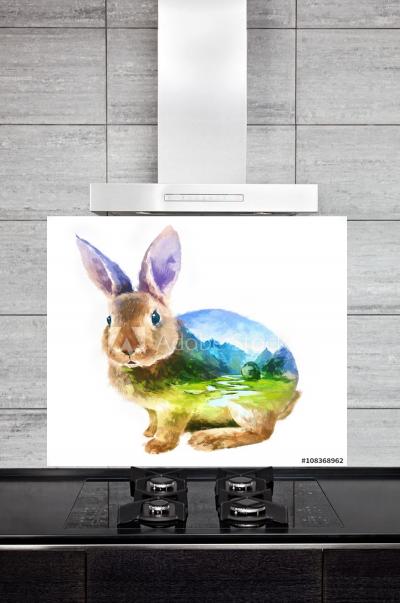 Kitchen Splashback Rabbit Illustration