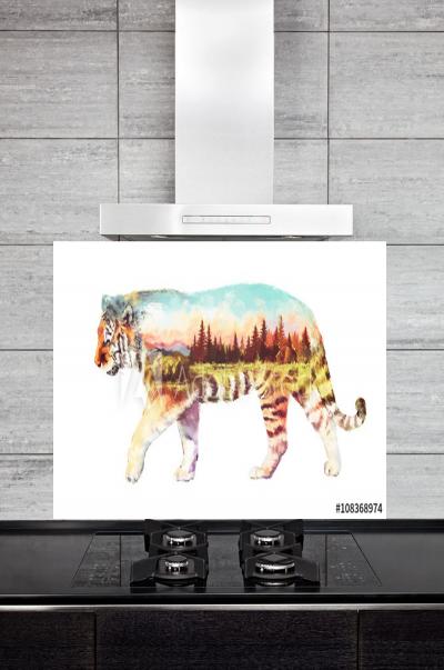 Kitchen Splashback Tiger Illustration