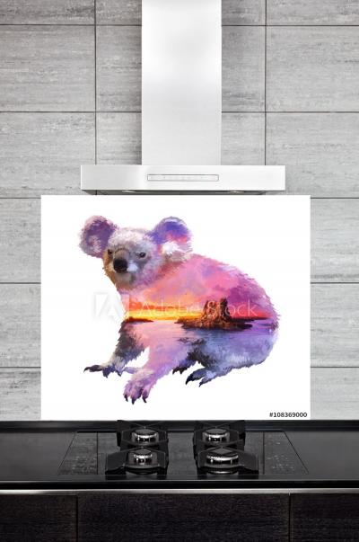 Kitchen Splashback Koala Illustration