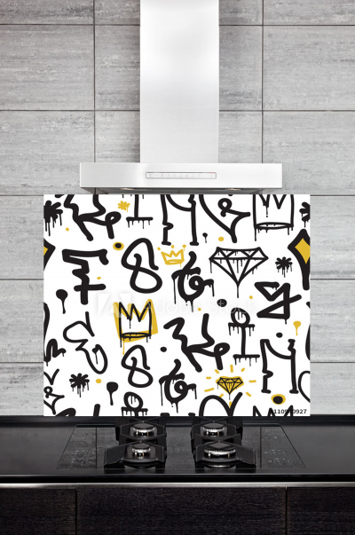 Kitchen Splashback Graffiti Pattern