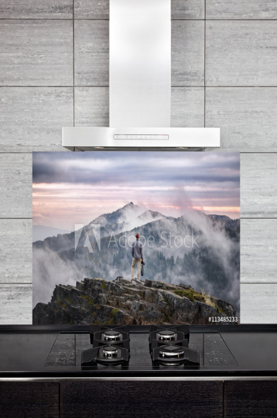 Kitchen Splashback Man on Mountain