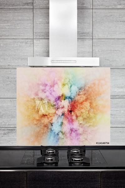 Kitchen Splashback Rainbow Powder Explosion