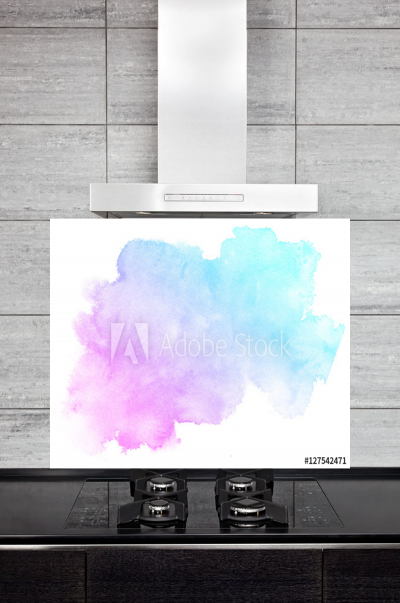 Kitchen Splashback Pink and Blue Watercolor