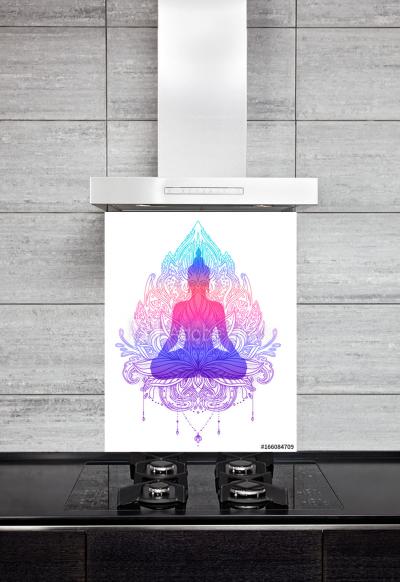 Kitchen Splashback Sitting Buddha
