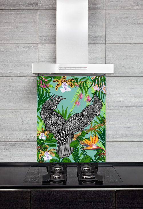 Kitchen Splashback Cockatoos in a Jungle