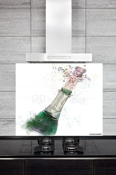 Kitchen Splashback Champagne Bottle