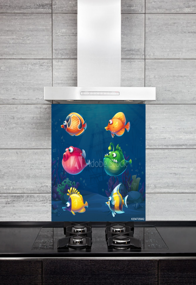Kitchen Splashback Cartoon Funny Fish