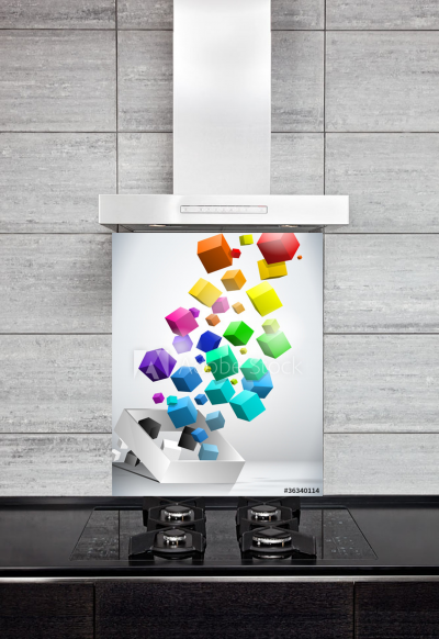 Kitchen Splashback Colorful Flying Cubes