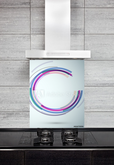 Kitchen Splashback Colorful Swoosh