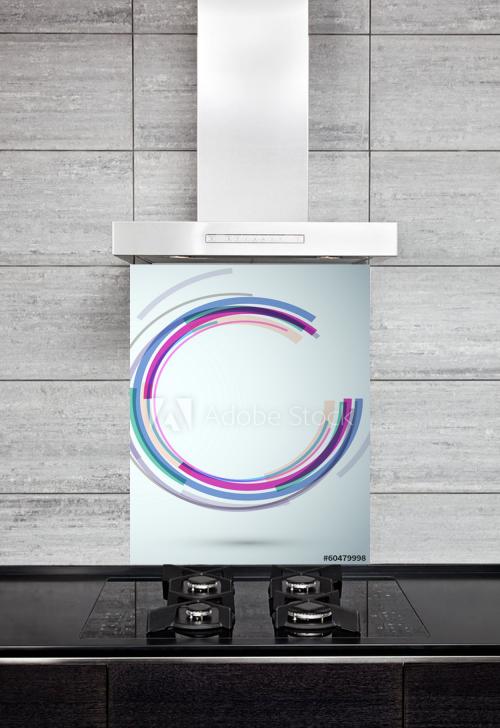 Kitchen Splashback Colorful Swoosh