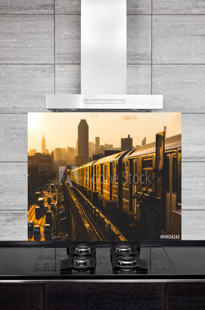 Kitchen Splashback Subway Train