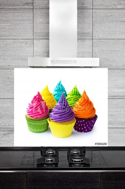 Kitchen Splashback Colorful Cupcakes