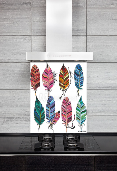 Kitchen Splashback Colorful Feathers