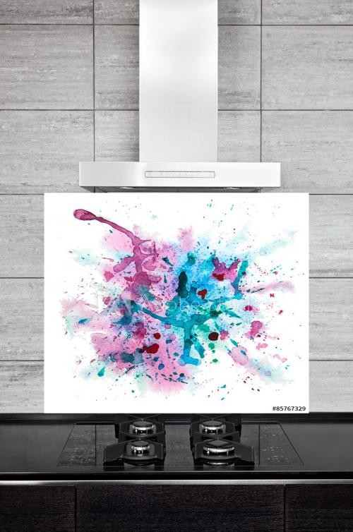 Kitchen Splashback Multicolor Watercolor Splash