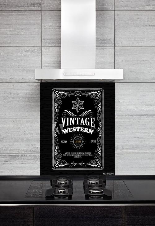 Kitchen Splashback Vintage Western